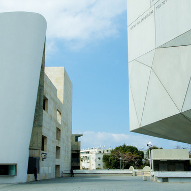 Plaza between Tel Aviv Museum of Art (rhs) and the Institute of Performing Arts (lhs)