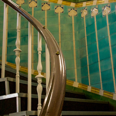 Superb art nouveau tiled stairway