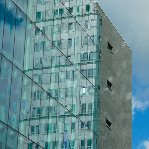 Glass and steel reflected
