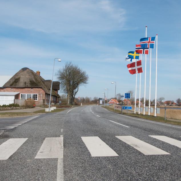 Danish/German border at Rudbøl looking into Denmark.