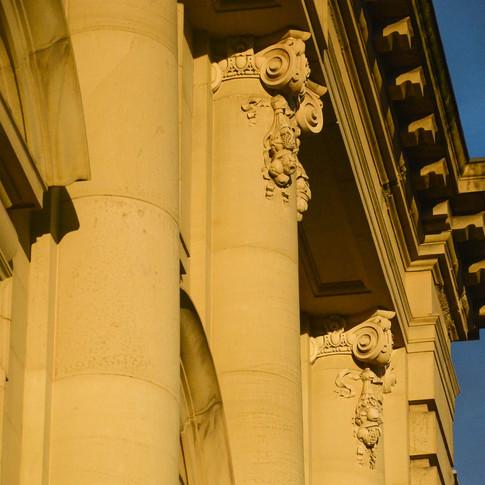Victorian neo-classical pillars in Alnwick, Northimberland