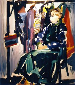 1979,_Susanne_Paulus_in_ihren_Kleidern,_Öl_auf_Lw.,_120_x_100_cm,_Privatbes