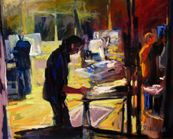 2005, Malschüler im Atelier, Öl auf Lw., 80 x 100 cm, 1.900,00