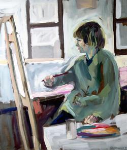 1983,_Ingo_im_Atelier_KHE,_Öl_auf_Lw.,_100_x_80_cm,_unverk.