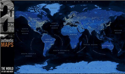 The World by Day & Night Wall Map