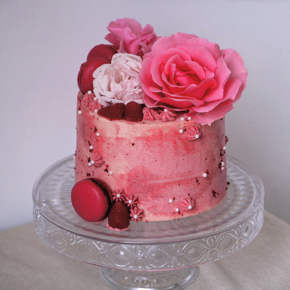 Abstract pink watercolour cake