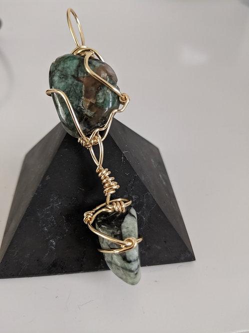 Double Emerald Pendant- Gold Edition
