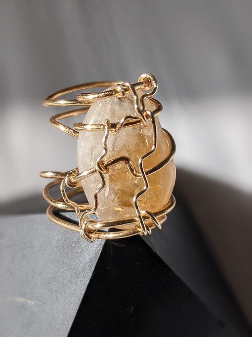 Adjustable Citrine Ring- Gold Edition