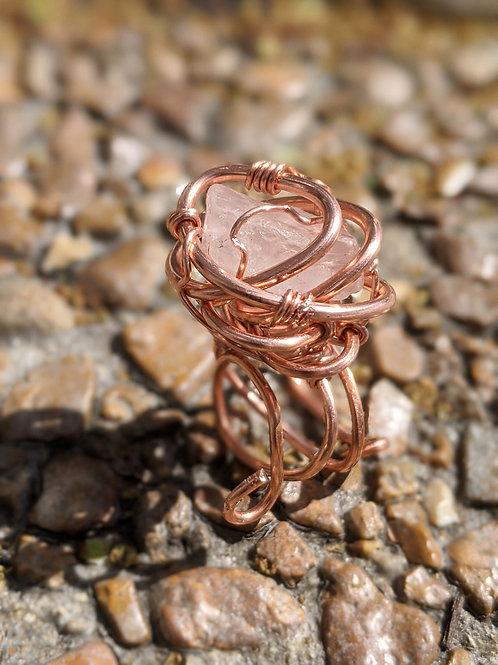 Rose Quartz Ring - Adjustable