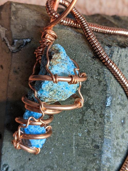 Raw Blue Apatite Pendant