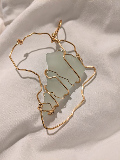 Africa Aqua Chalcedony Pendant- Gold Edition