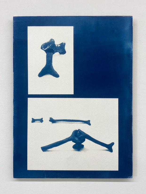 """Configurations and Coding #1 11""""x 15"""", Cyanotype mounted on board, 2021"""
