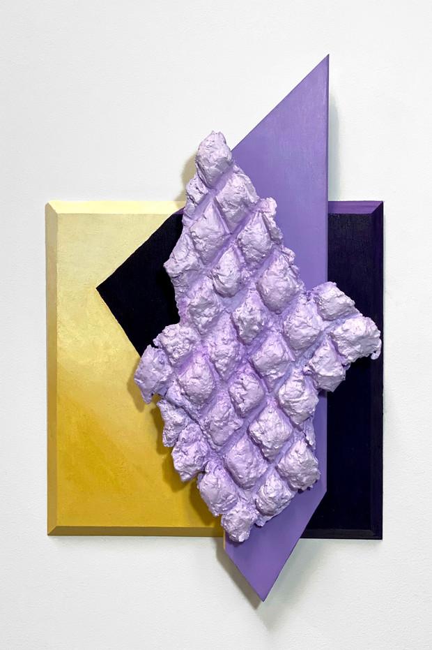 "Growth of New Margins 18"" x 12"" Plaster, wood, acrylic paint on wood panel 2019"