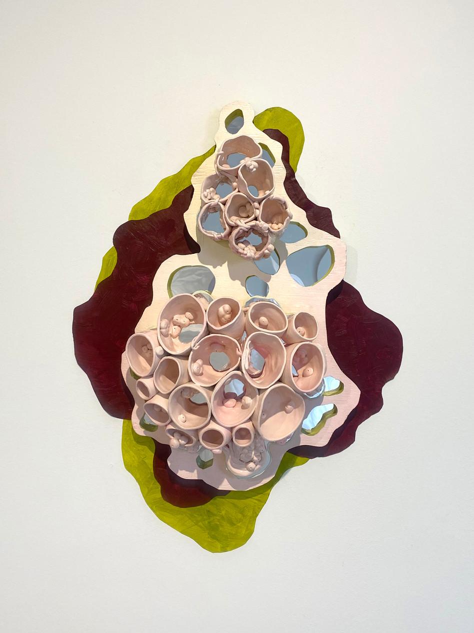 "Transmogrifier  24"" x 20"" x 5""  Wood, acrylic mirror, ceramic, vinyl, paint 2019"