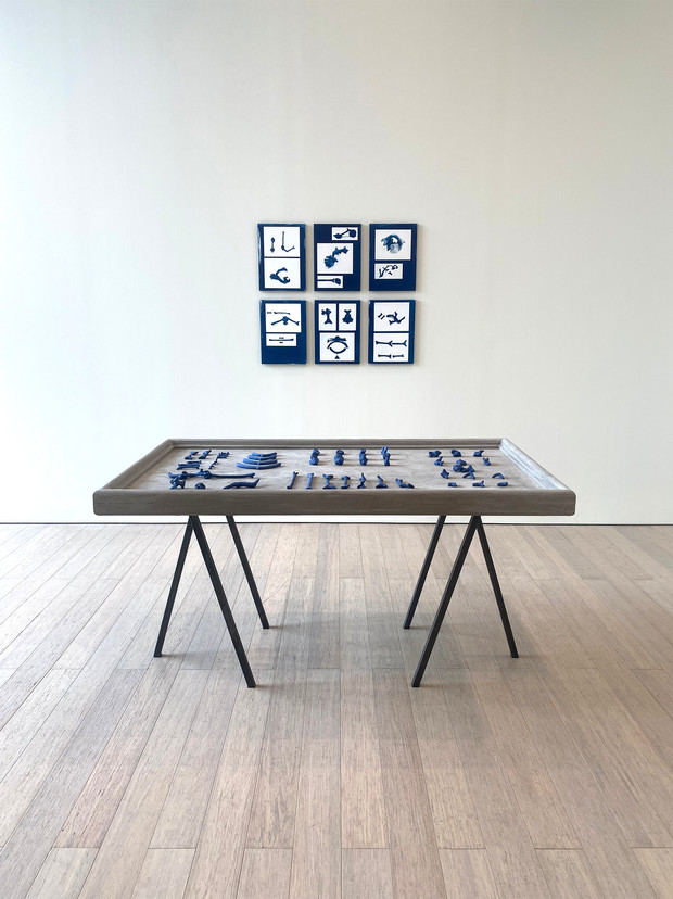 Perceptual Inferences: Making a ______,  Steel, wood, cement, porcelain, and mason stain,  36 x 60 x 34in / 91.44 x 101.6 x 86.36 cm 2021