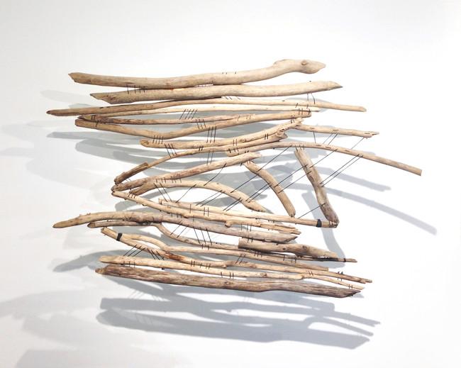 """Capillarity 30"""" x 46"""" x 8"""" Wood and waxed thread 2017"""