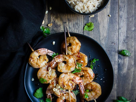 Grilled Shrimp with coconut rice
