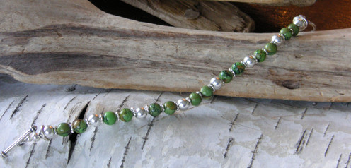 Green Turquoise and Sterling Silever Bracelt
