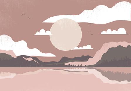 A calm, peaceful lake.