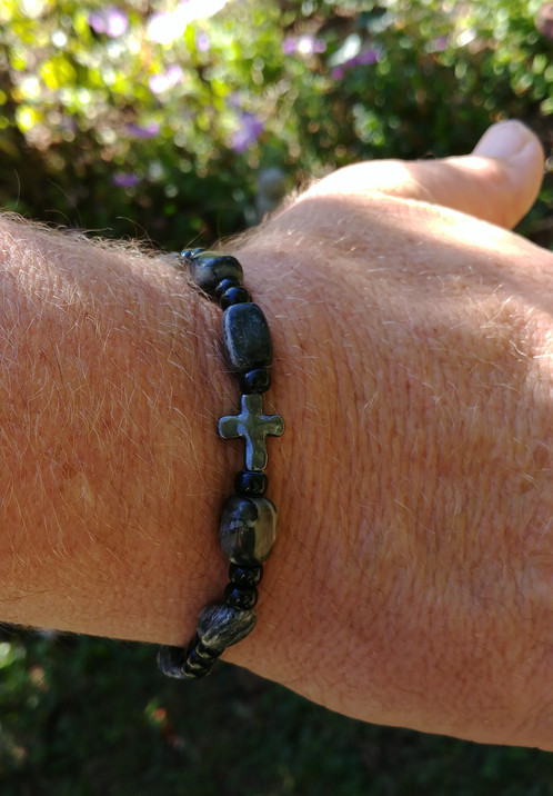 Rosary Bracelets Made With Men In Mind A Choice Of Gray And Marble Stone Or Clic Black Either Bracelet Creates Sophisticated Polished Look