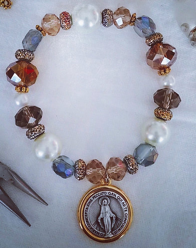 Blessed Mother Large Gold Charm