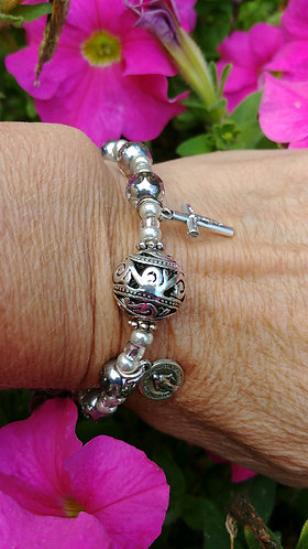 Clear and Silver Rosary Bracelet