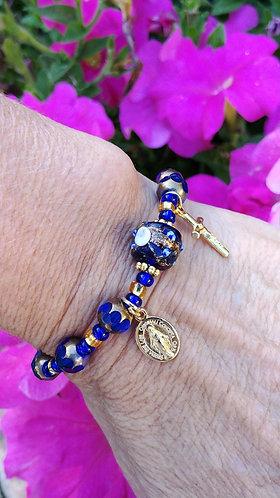 Dark Blue and Gold Bracelet