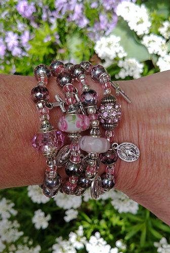 Pink and Silver Rosary Bracelet