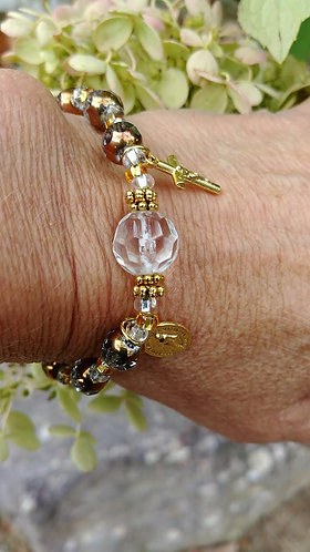 Clear and Gold Rosary Bracelet
