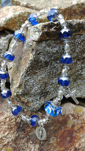 Royal Blue and Silver Rosary Bracelet