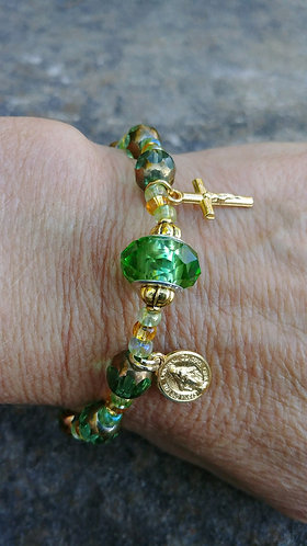 Green and Gold Rosary Bracelet