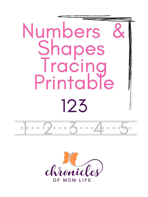 Numbers & Shapes Tracing Printable