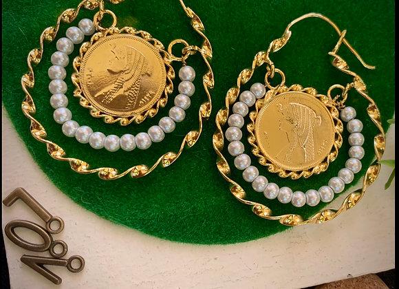 Pearl Wheel Earrings