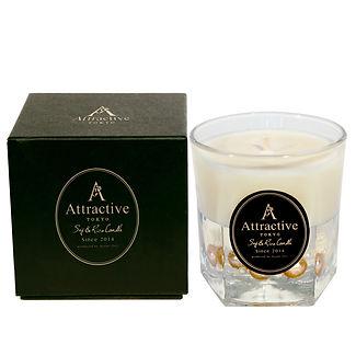 Attractive アトラクティブ 大人のためのドライフラワー入り ソイ&ライス キャンドル シャルドネの香り