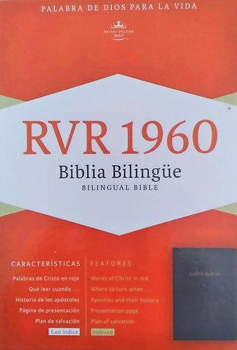 Biblia Bilingüe RVR 1960/KJV Piel Fab Neg Indice