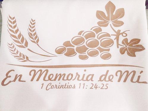 """Mantel Santa Cena 90"""" x 132"""" Blanco Diseño y Corredor/Tapete Dorado"""