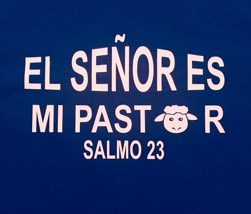 T-shirt El Señor es mi Pastor Niño Azul con pluma/libreta