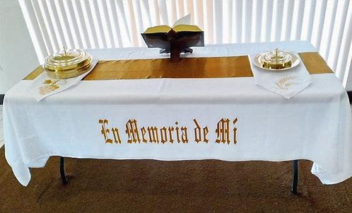 """Mantel Santa Cena Set Blanco/Oro 120"""" x 60"""""""