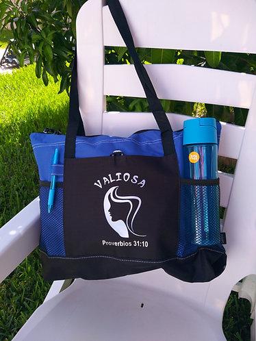 Bolso con Botella, Pluma y Cierre Azul/Negro