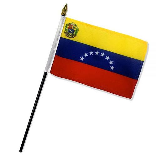 Bandera Venezuela 4x6 pulgadas con palo