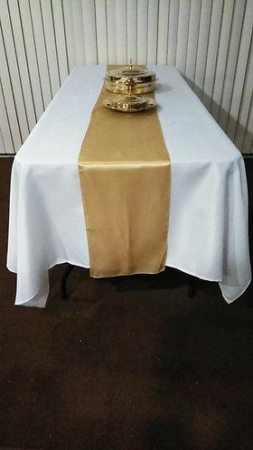"""Mantel Santa Cena 60"""" x 102 Blanco con Diseño y Corredor Oro Champán"""