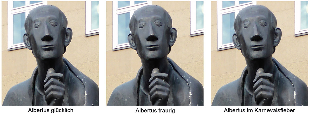 """Statue von Albertus Magnus im Portrait, drei Mal dieselbe Ansicht, einmal mit Untertitel """"Albertus glücklich"""", einmal """"Albertus traurig"""", einmal """"Albertus im Karnevalsfieber"""""""