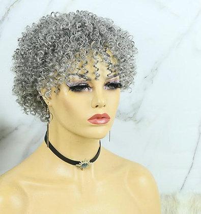 FULL SLIVER GREY CURLY BOB WITH BANGS HUMAN HAIR WIG