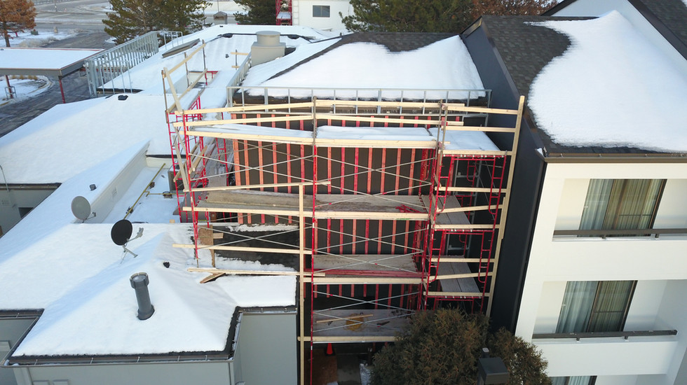 Exterior Hotel Renovation During Courtyard by Marriott