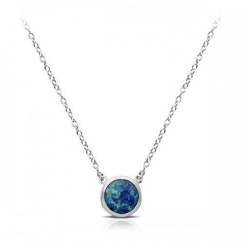 opal zilveren halsketting