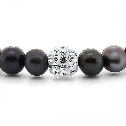 zwarte zoetwater parel armband met kristallen bal