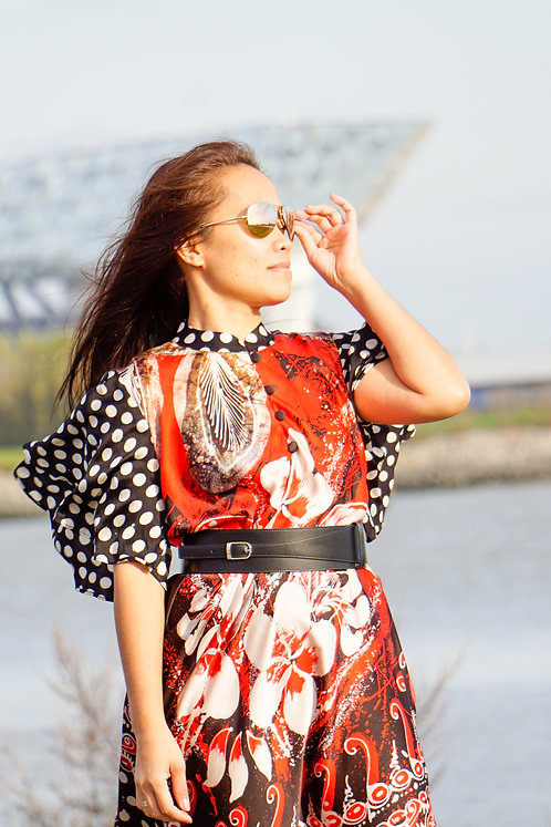 red flower silk dress