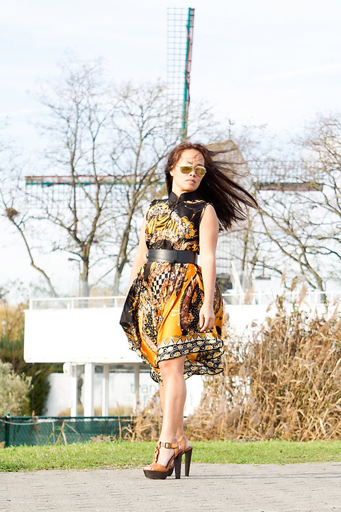 gold-black silk dress