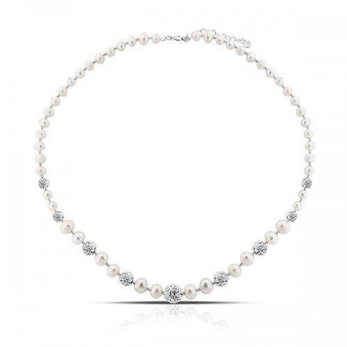 Zilveren halsketting met 9 kristallen en witte zoetwater parels
