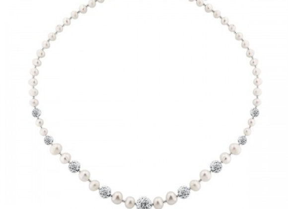 silver necklase with 9 crystal balls and white pearl